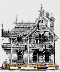Мотив фасада деревянной дачи 19 века.